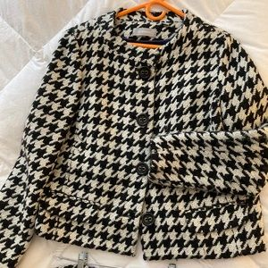 Houndstooth Black and White Jacket and Skirt